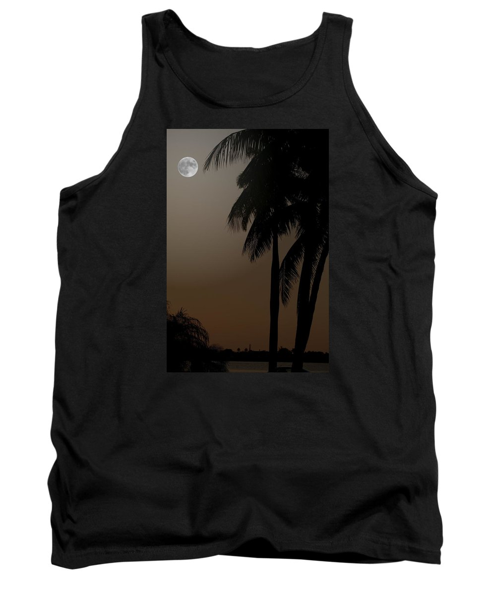Moonlight Tank Top featuring the photograph Moonlight And Palms by Diane Merkle