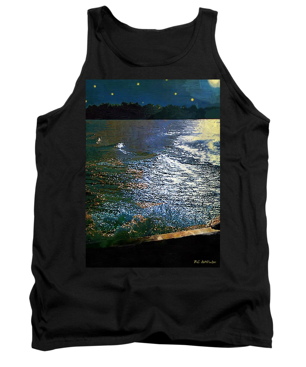 Impasto Tank Top featuring the painting Moonlight On The Mississippi by RC DeWinter