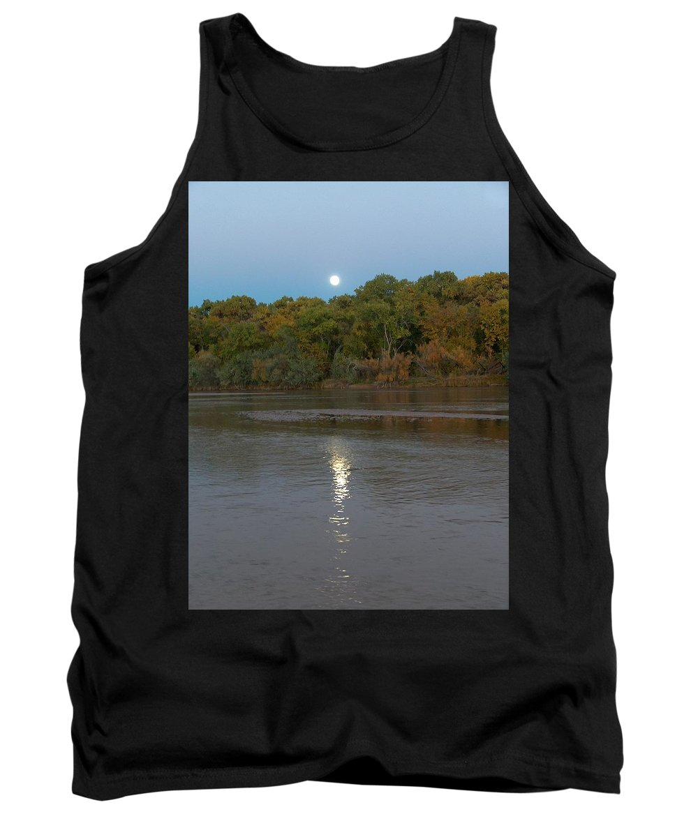 Moonlight Tank Top featuring the photograph Moonlight On The Rio Grande by Tim McCarthy