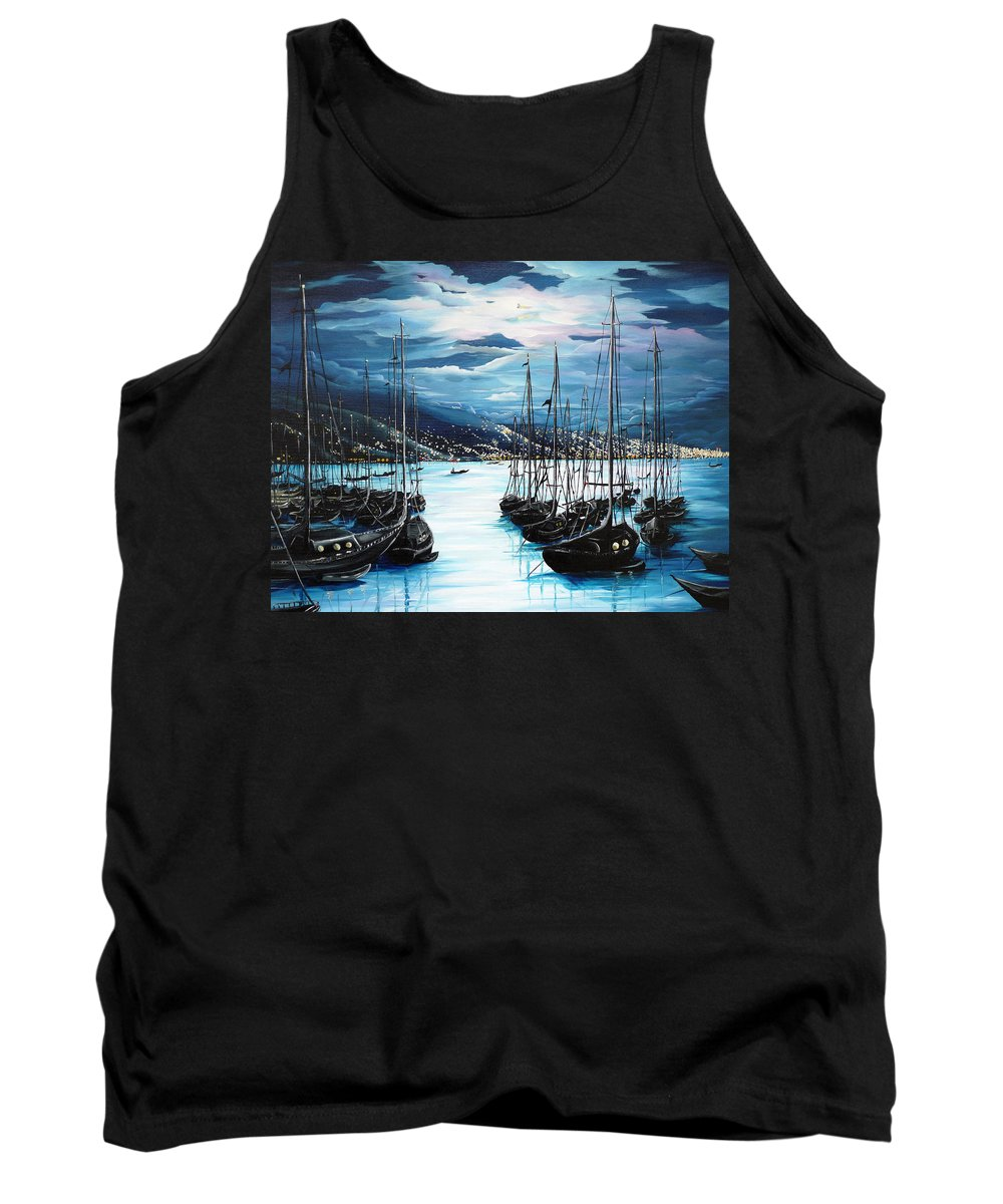 Ocean Painting  Caribbean Seascape Painting Moonlight Painting Yachts Painting Marina Moonlight Port Of Spain Trinidad And Tobago Painting Greeting Card Painting Tank Top featuring the painting Moonlight Over Port Of Spain by Karin Dawn Kelshall- Best