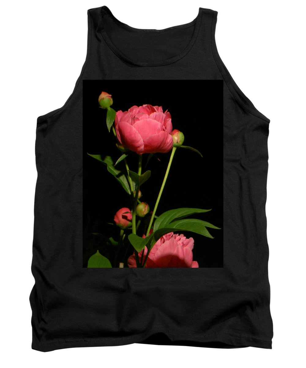 Pink Tank Top featuring the photograph Moonlight Peony by Carolyn Jacob
