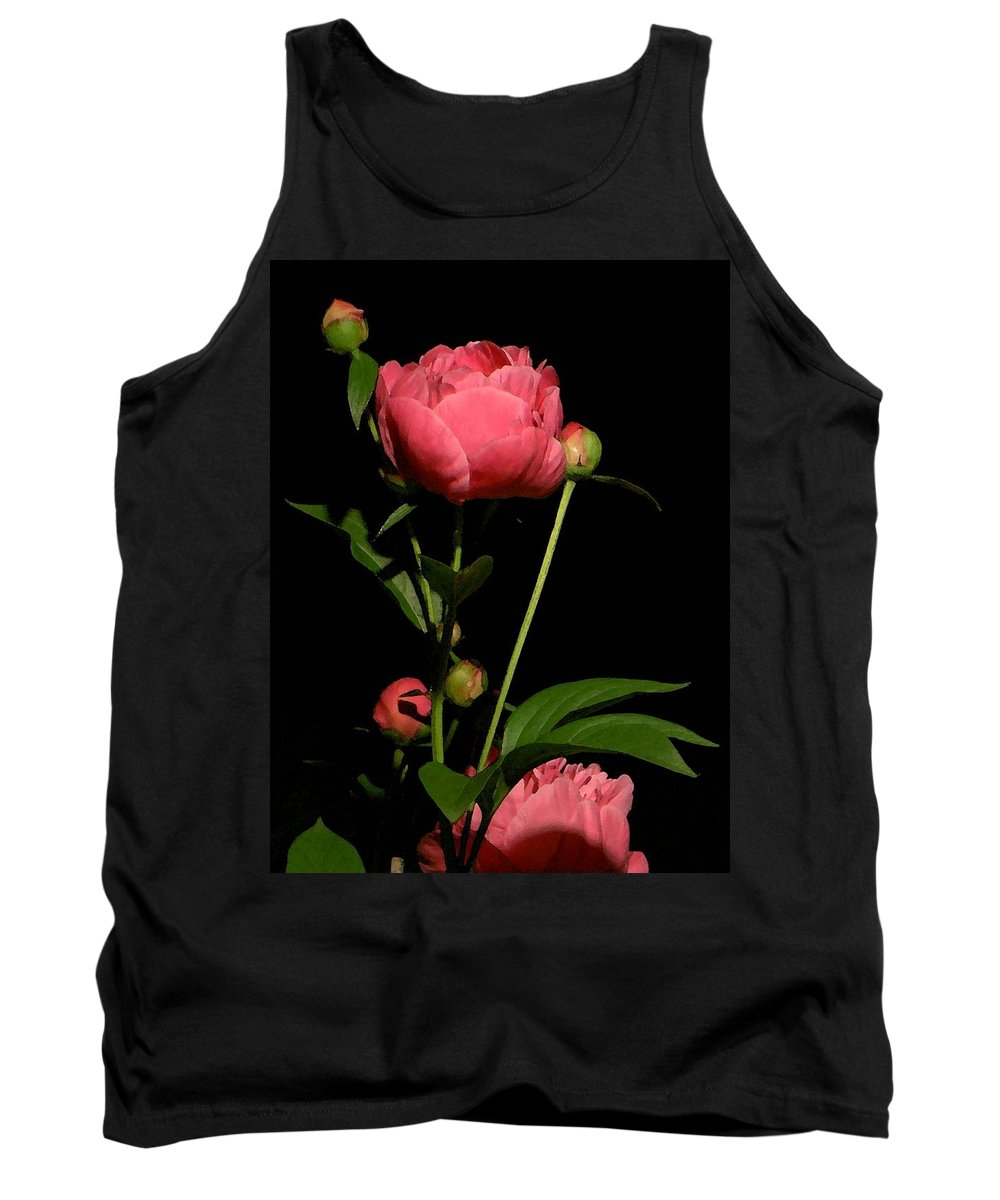 Pink Tank Top featuring the photograph Moonlight Peony Watercolor by Carolyn Jacob