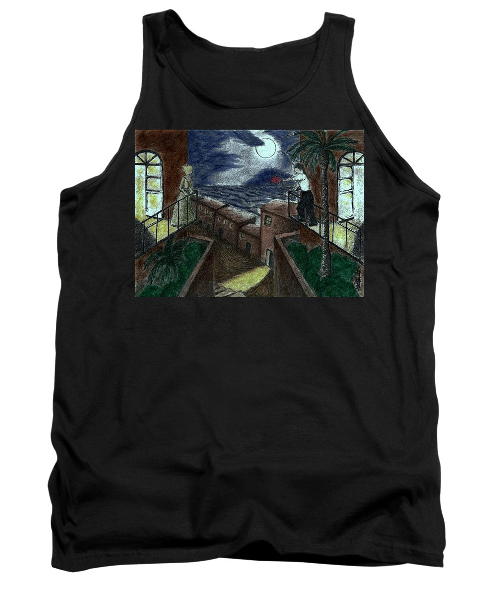 Man And Woman On Opposite Balconies Reaching Out For Each Other Tank Top featuring the painting Moonlight Serenade by Kate Hopson