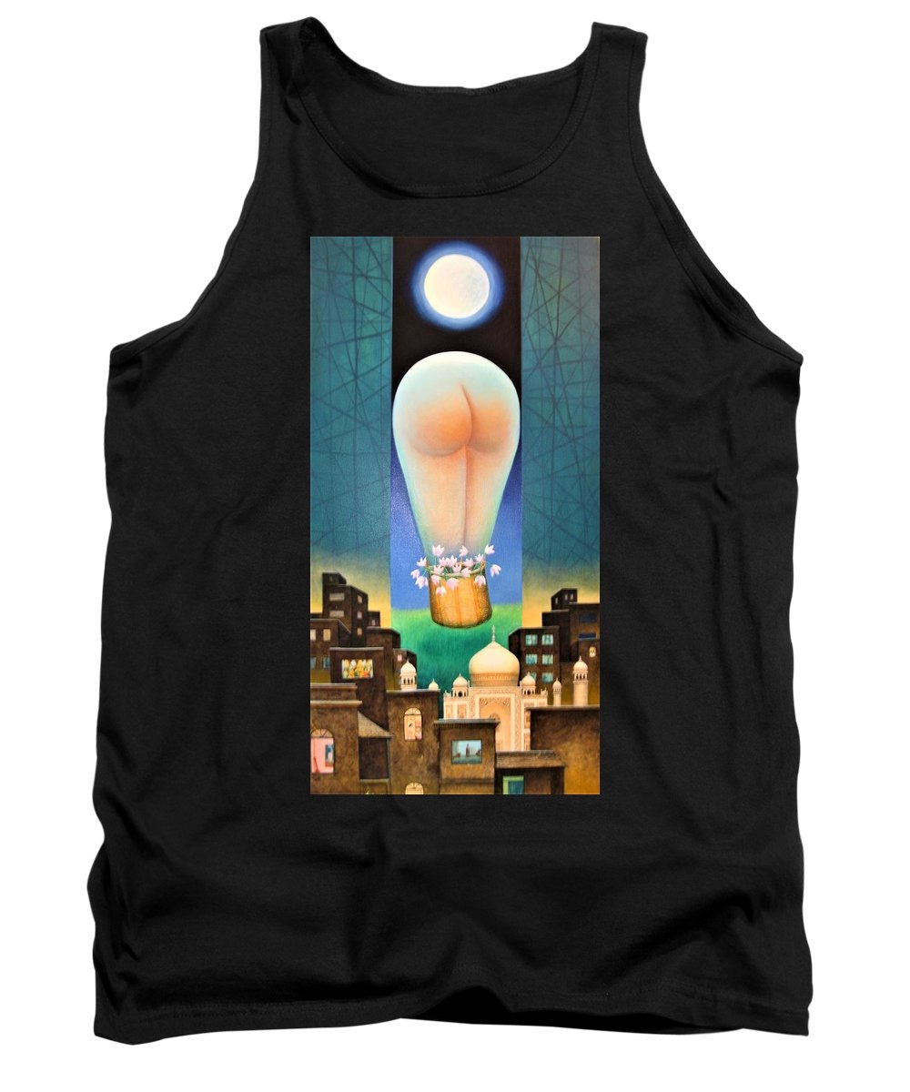 Romantic Tank Top featuring the painting Moonlit Night-b by Raju Bose