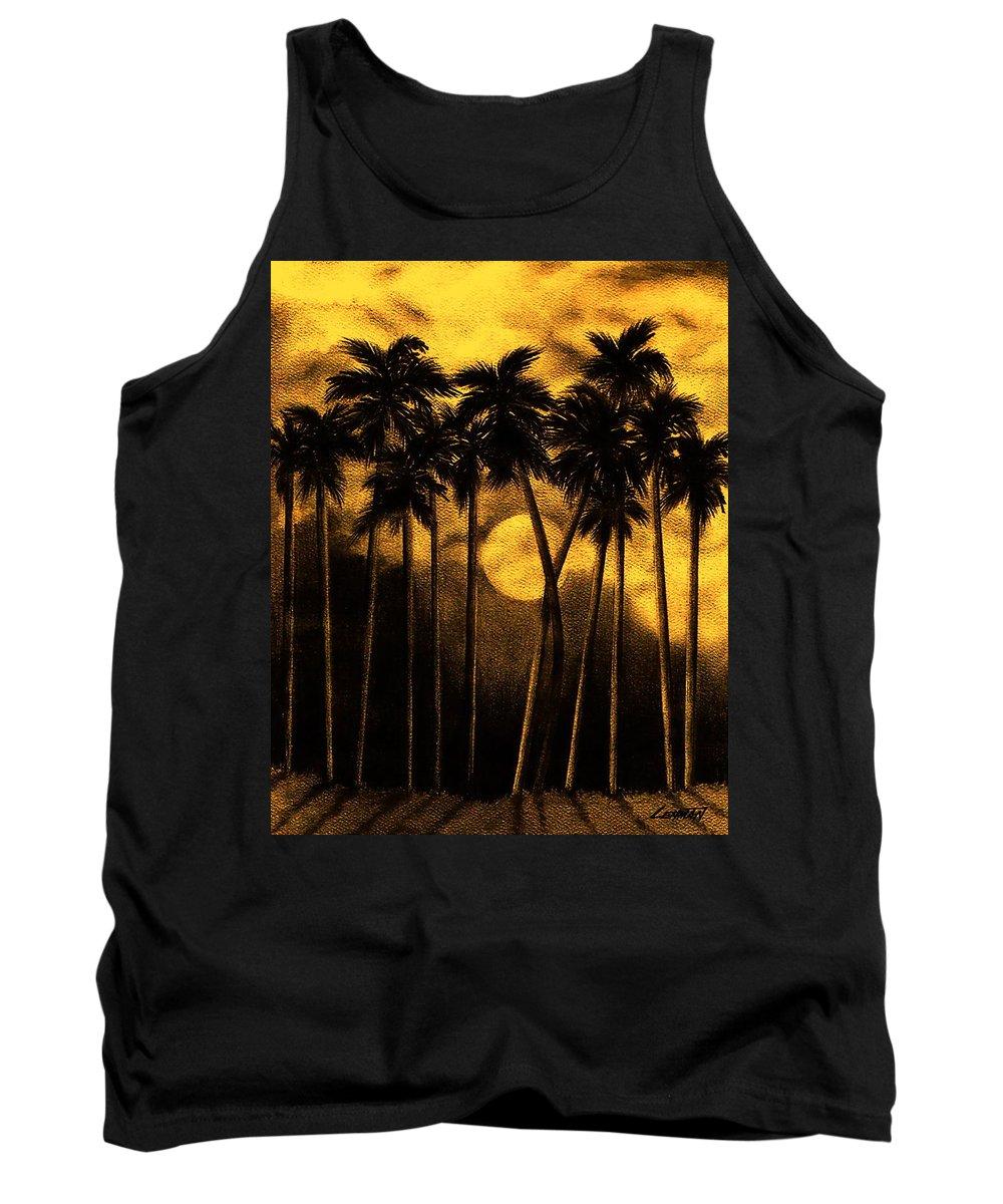 Moonlit Palm Trees In Yellow Tank Top featuring the mixed media Moonlit Palm Trees In Yellow by Larry Lehman