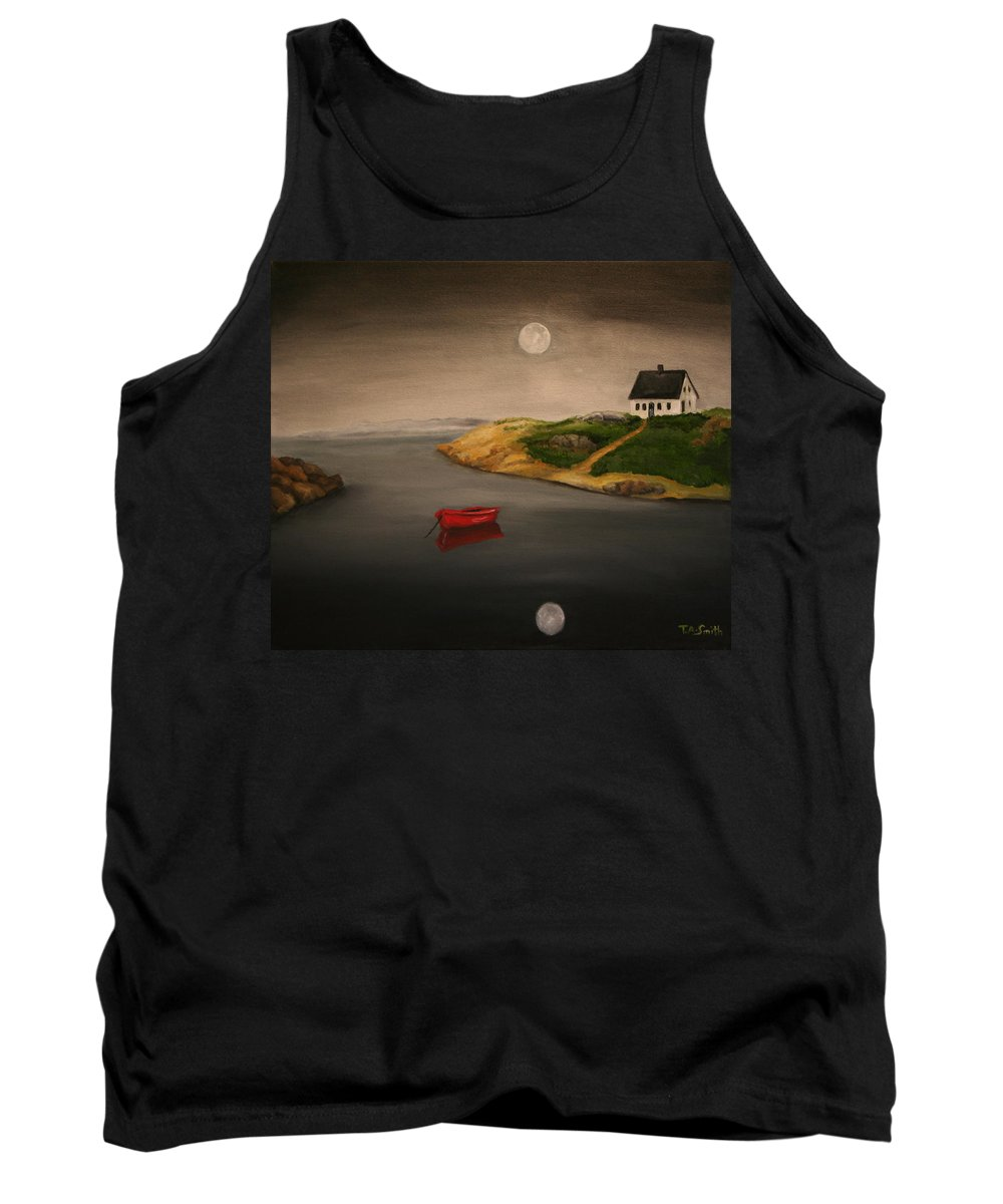 Seascape Tank Top featuring the painting Moonlite Night by Timothy Smith