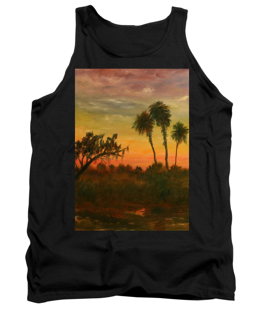 Palm Trees; Tropical; Marsh; Sunrise Tank Top featuring the painting Morning Fog by Ben Kiger