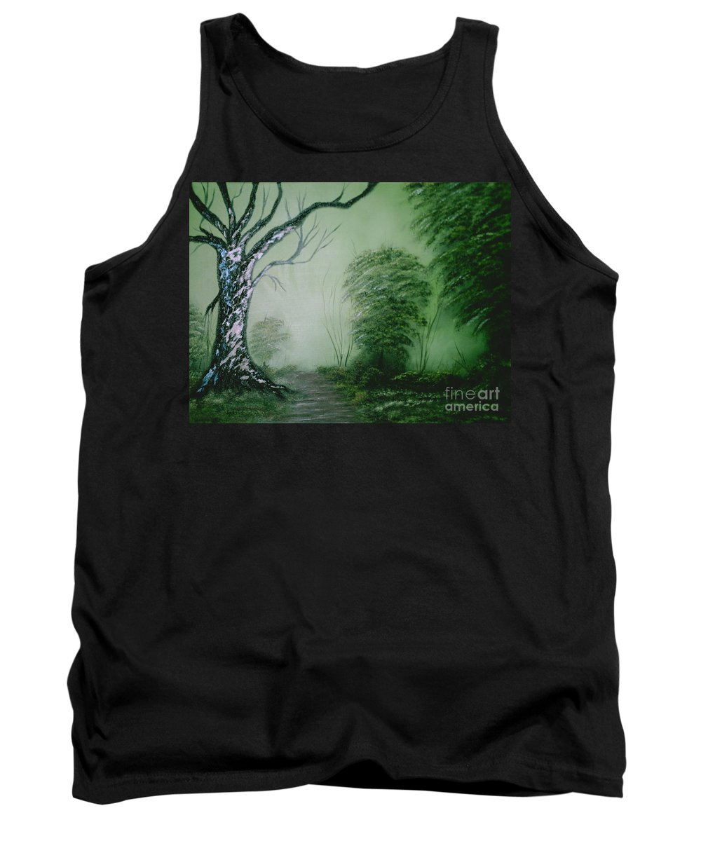 Trees Tank Top featuring the painting Morning Fog by Jim Saltis