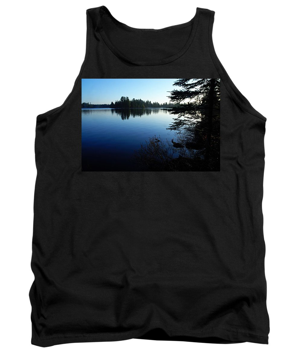 Chad Lake Tank Top featuring the photograph Morning On Chad Lake by Larry Ricker