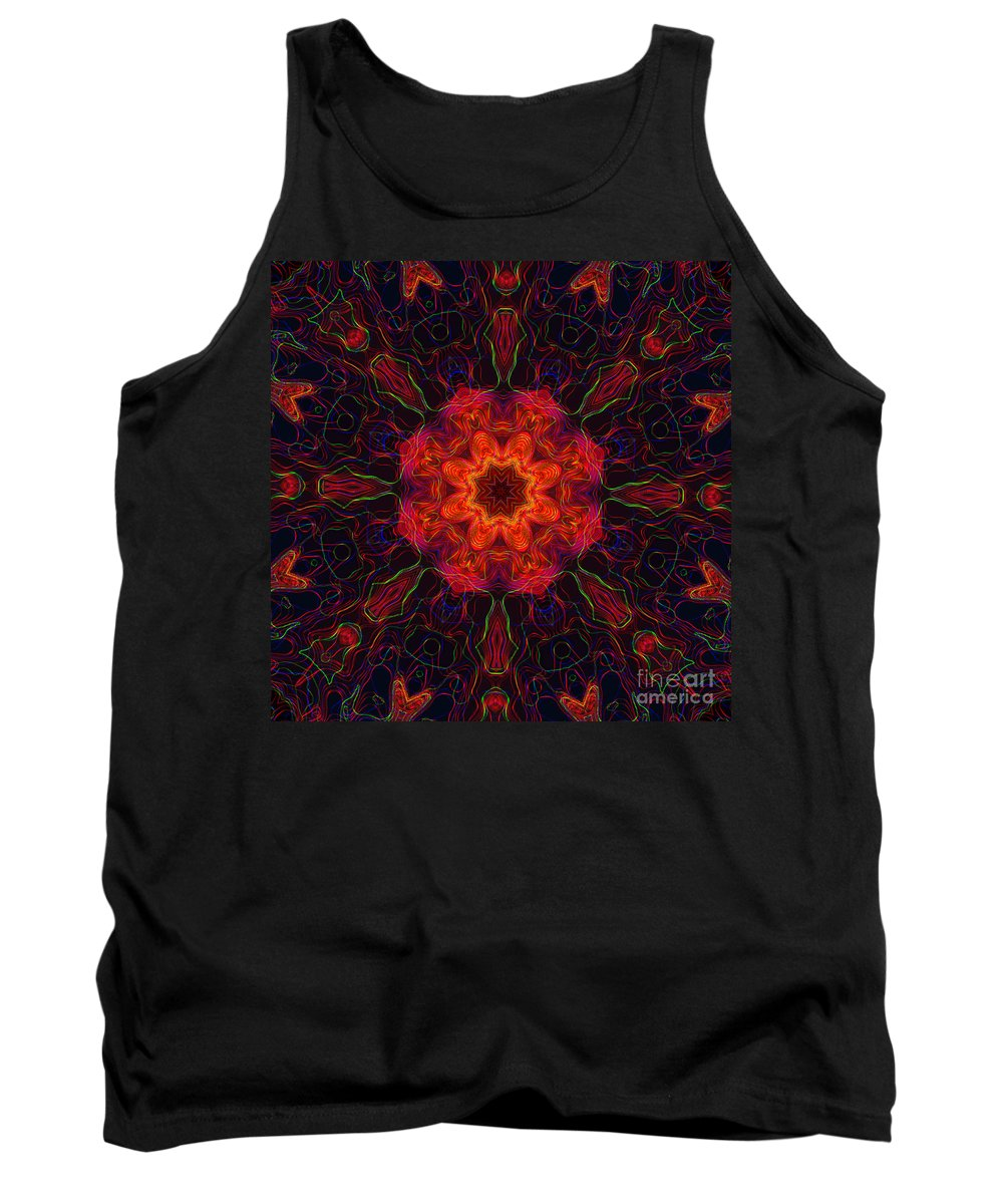 Kaleidoscope Tank Top featuring the digital art 10207 Morning Storm 2 Kaleidoscope 4 by Colin Hunt