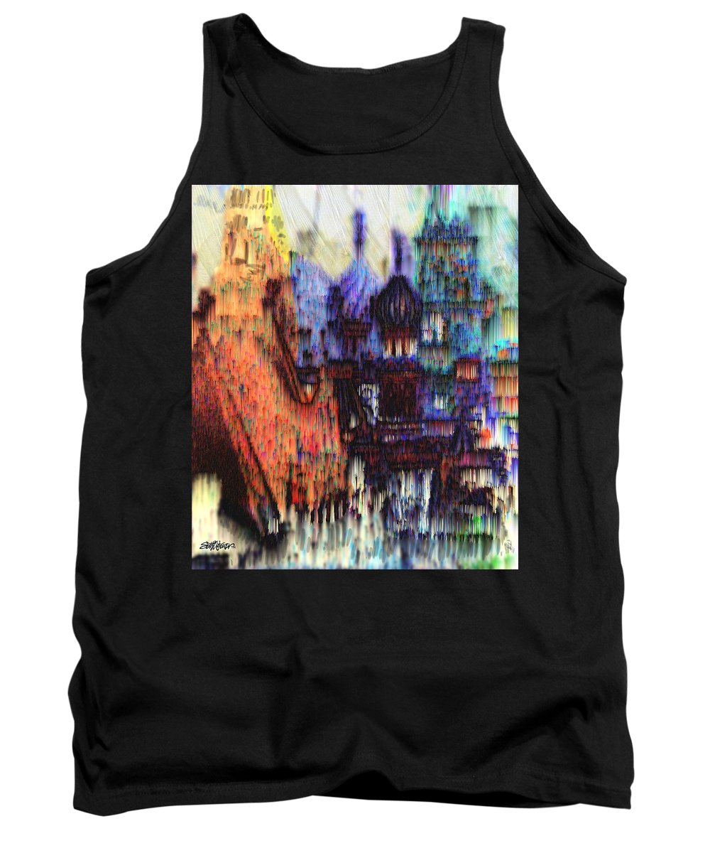 Fog Tank Top featuring the digital art Moscow In The Rain by Seth Weaver