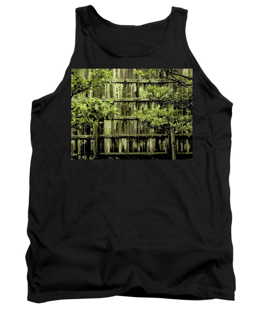 Moss Tank Top featuring the photograph Mossy Bamboo Fence - Digital Art by Carol Groenen
