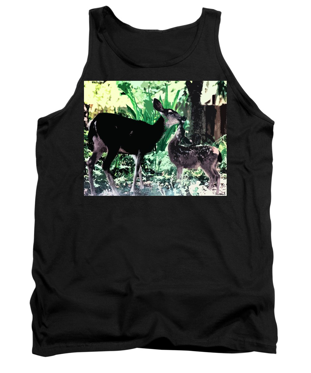 A Doe And Her Fawn Tank Top featuring the painting Mother And Child by Kate Hopson