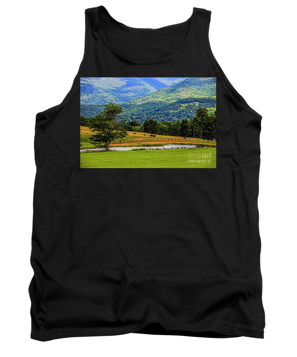 Mountains Tank Top featuring the photograph Mountain Farm With Pond by Doug Berry