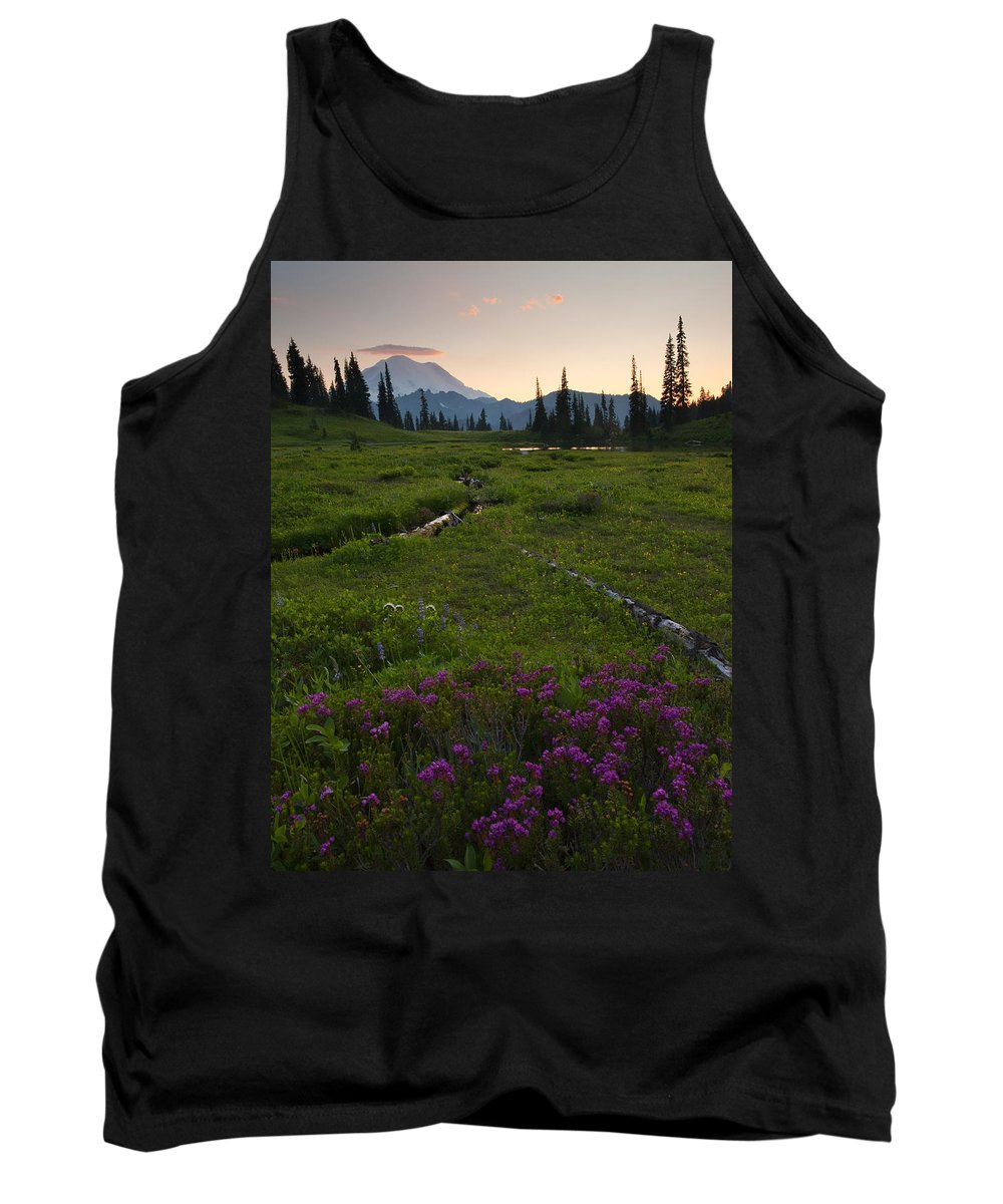 Rainier Tank Top featuring the photograph Mountain Heather Sunset by Mike Dawson