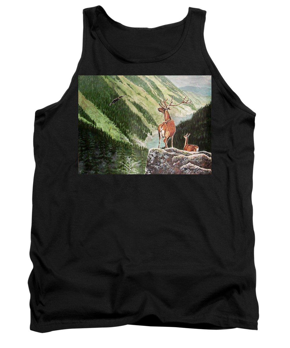 Deer Tank Top featuring the painting Mountain Morning by Arie Van der Wijst