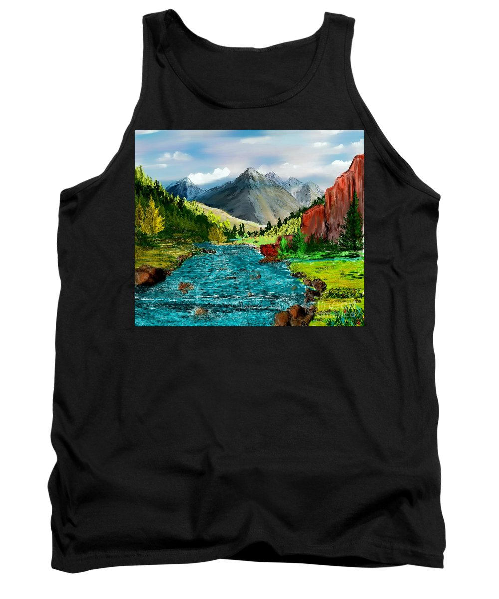 Nature Tank Top featuring the digital art Mountain Stream by David Lane