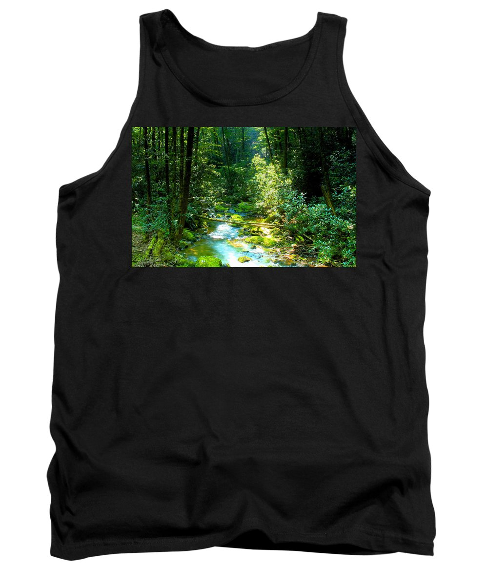Mountain Stream Tank Top featuring the painting Mountain Stream by David Lee Thompson