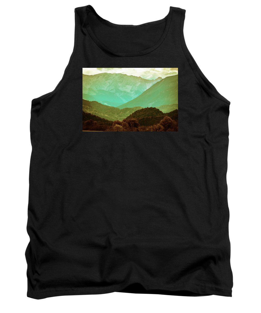 Nature Tank Top featuring the pyrography Mountains by Artistic Panda