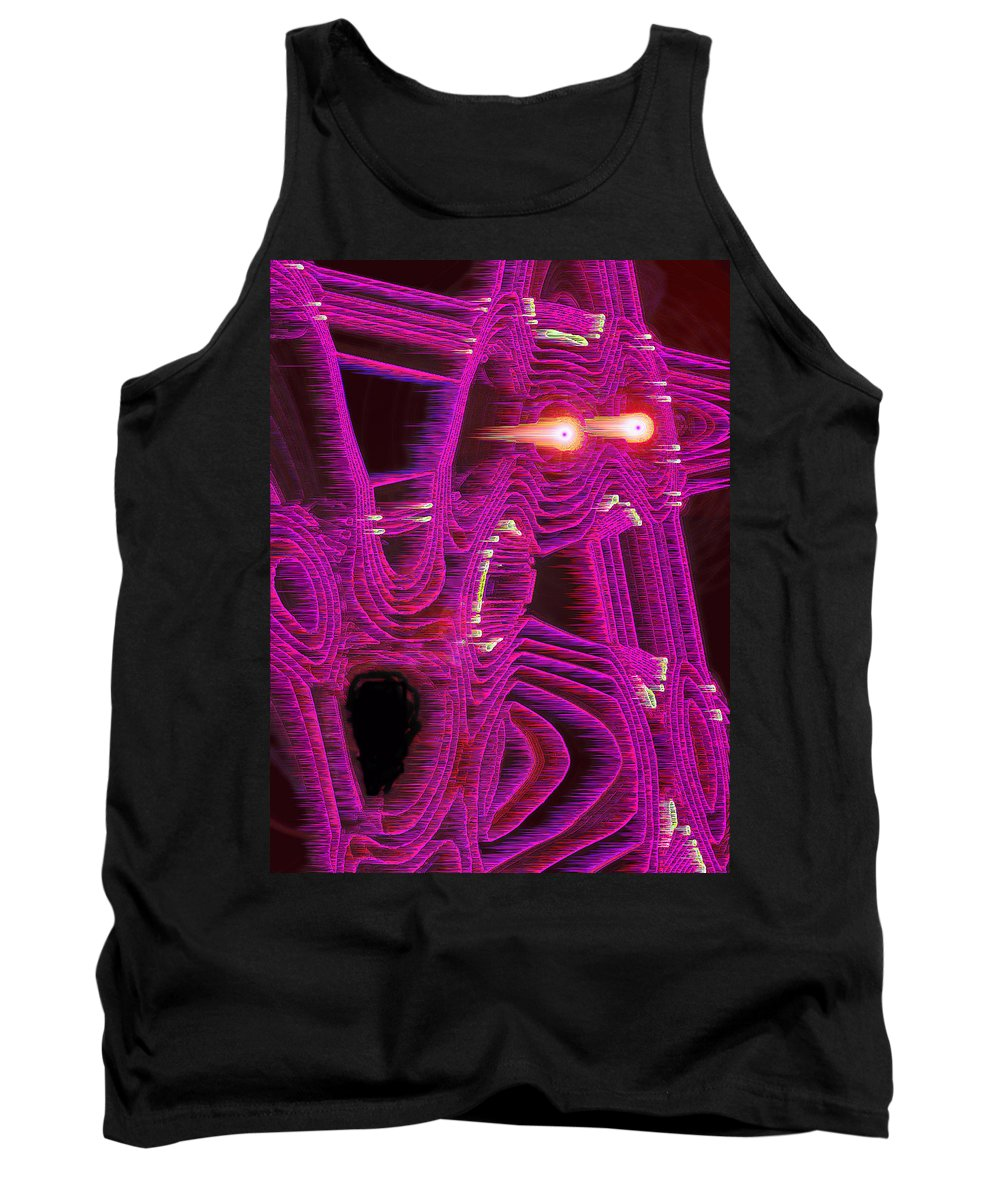 Moveonart! Digital Gallery Tank Top featuring the digital art Moveonart Art Shocked By The Future One by Jacob Kanduch
