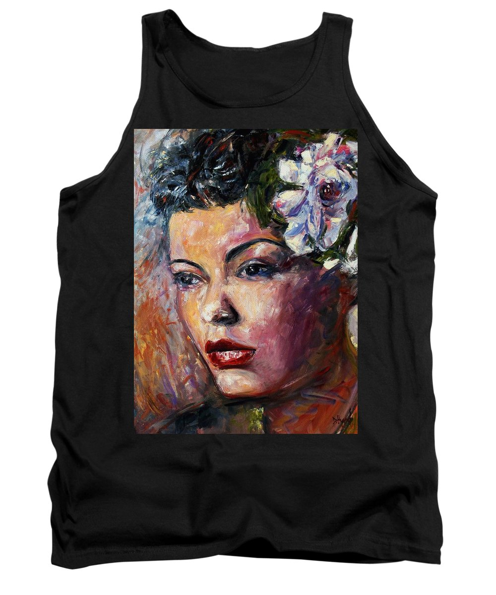 Jazz Tank Top featuring the painting Ms. Lady Day by Debra Hurd