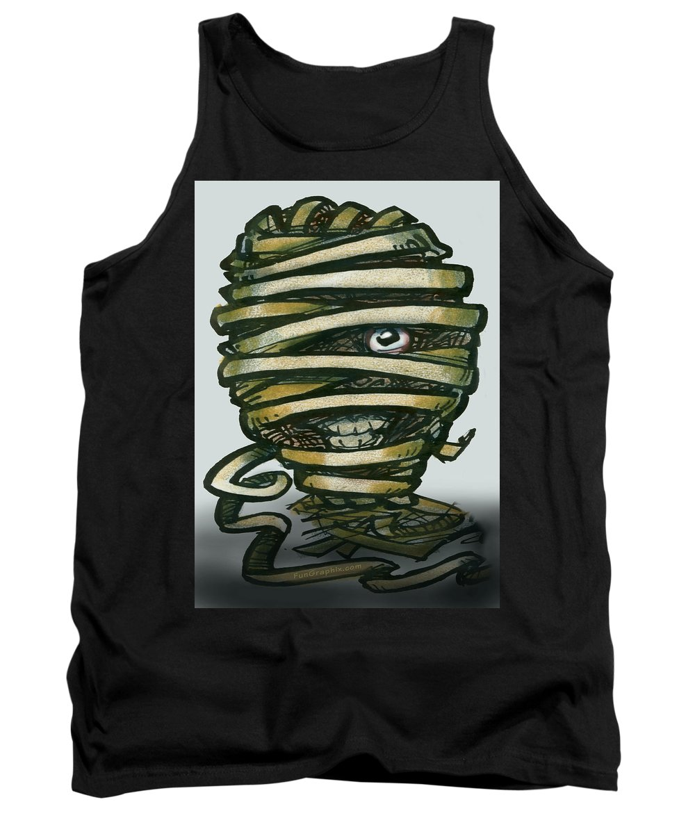 Mummy Tank Top featuring the greeting card Mummy by Kevin Middleton