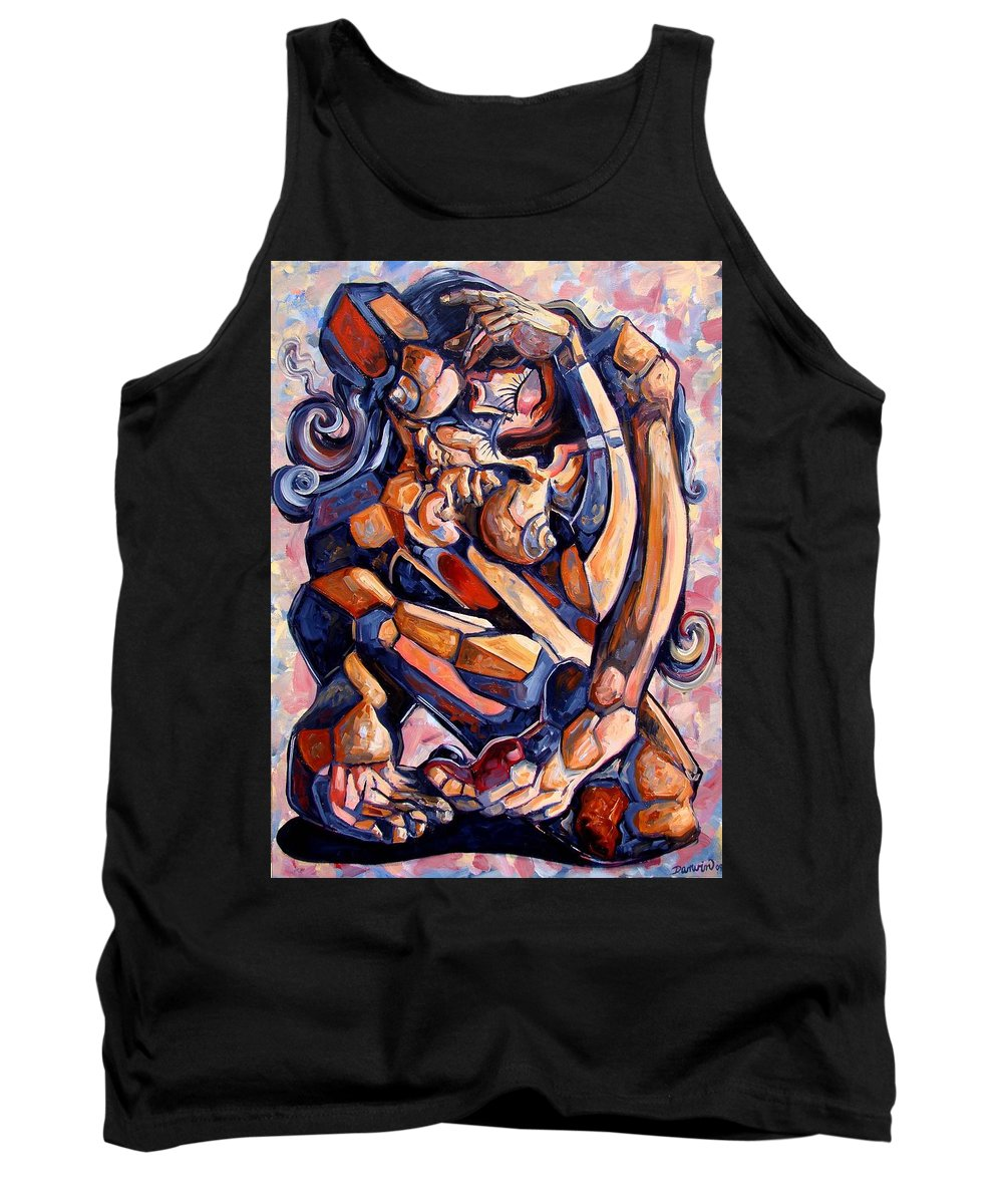 Surrealism Tank Top featuring the painting Muse In A Box by Darwin Leon