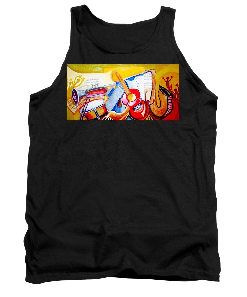 Music Tank Top featuring the painting Musical World. by Julio Sanchez - Julsan