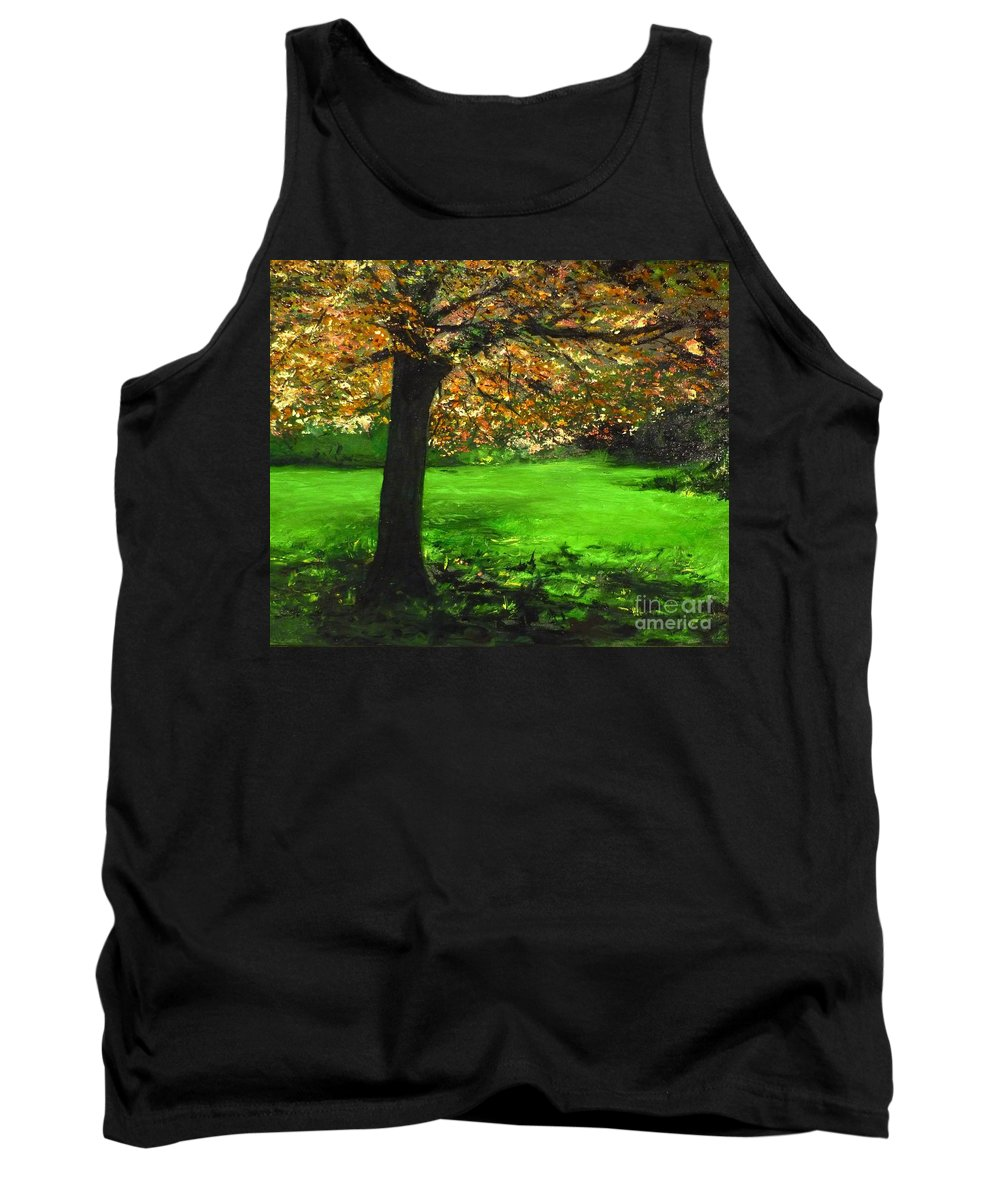 Spiritualism Tank Top featuring the painting My Love Of Trees I by Lizzy Forrester
