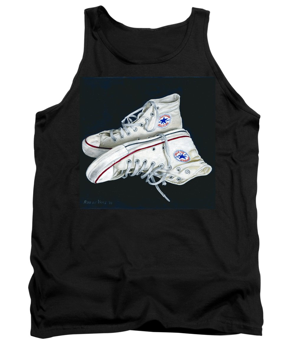 All Stars Tank Top featuring the painting My Old All Stars by Rob De Vries