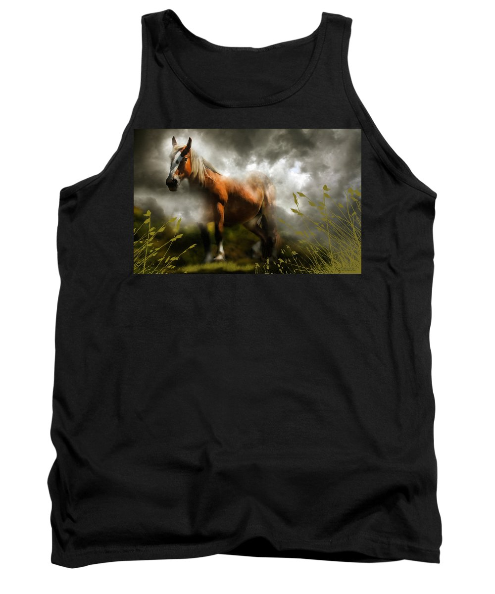 Horse Tank Top featuring the mixed media Mystic Visitor by Georgiana Romanovna