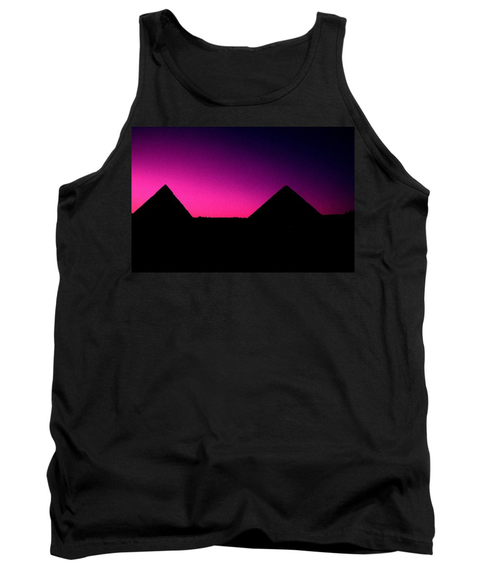 Pyramids Tank Top featuring the photograph The Pyramids At Sundown by Gary Wonning