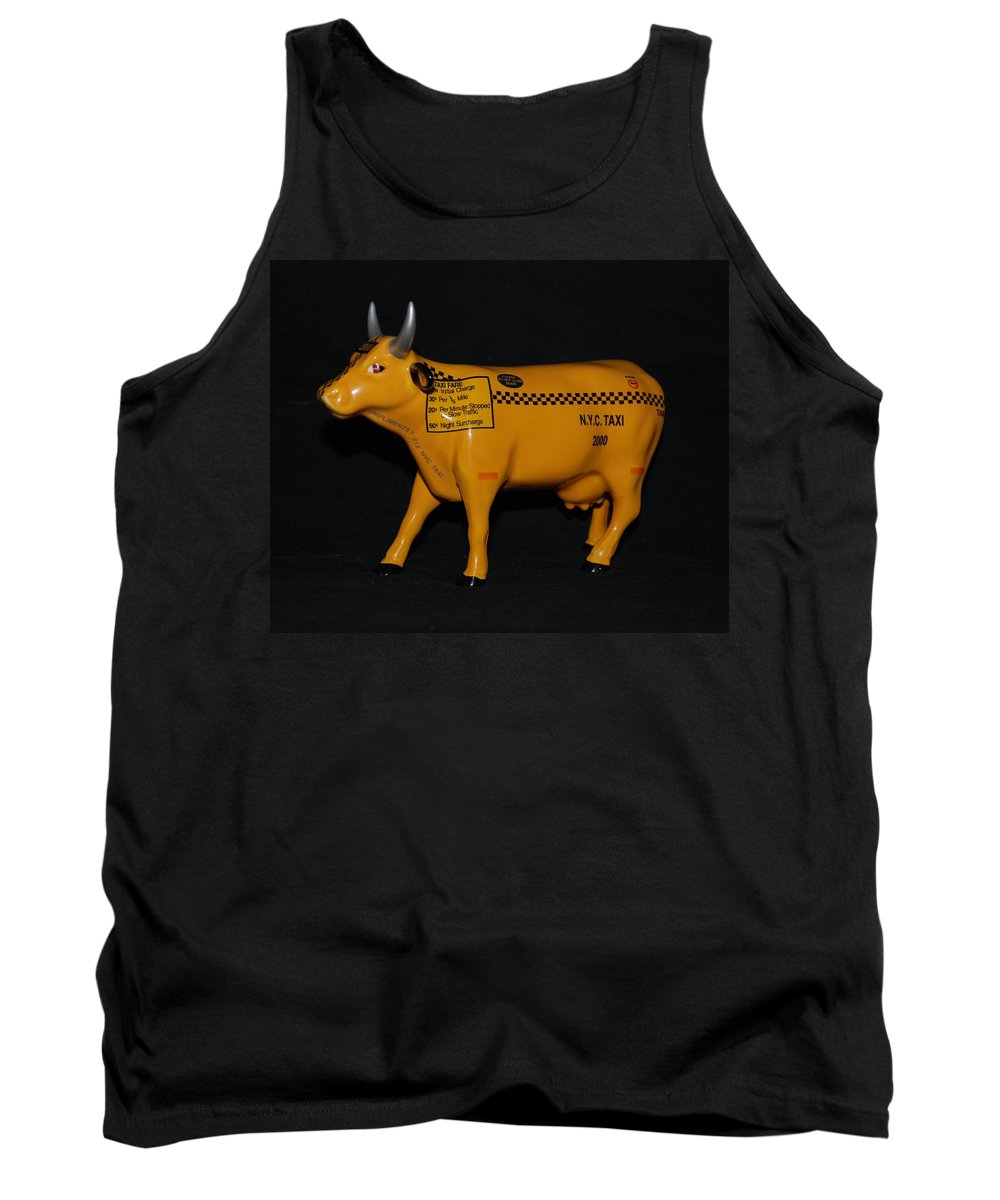 Macro Tank Top featuring the photograph N Y C Taxi Cow by Rob Hans