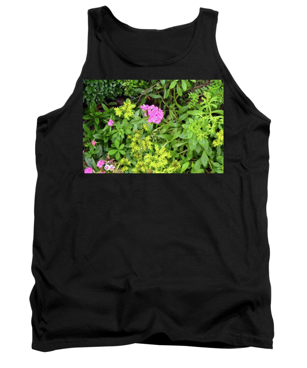 Flower Tank Top featuring the photograph Natural Background With Vegetation And Purple Flowers. by Oana Unciuleanu