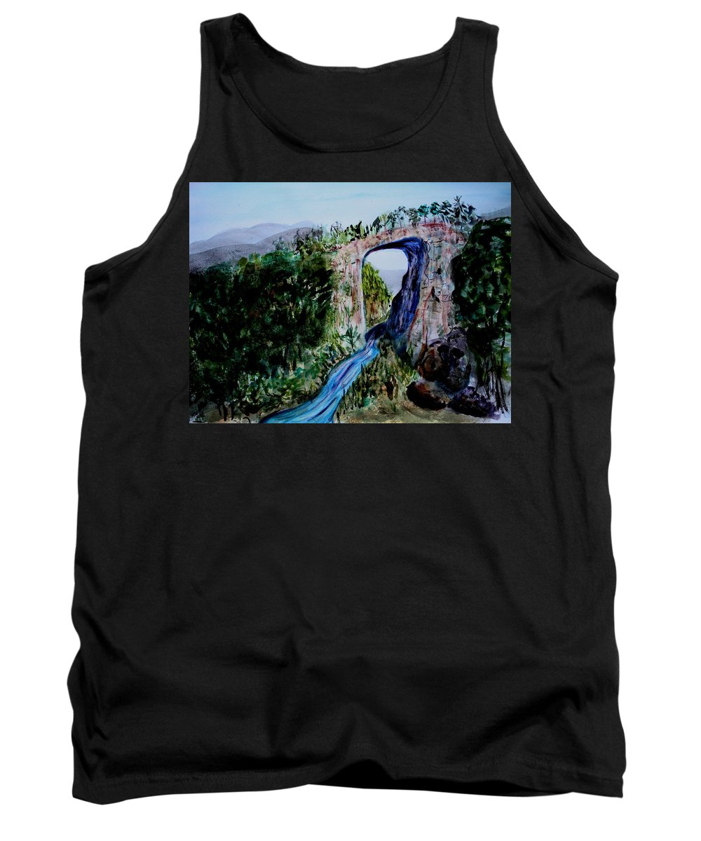 Virginia Tank Top featuring the painting Natural Bridge In Virginia by Donna Walsh