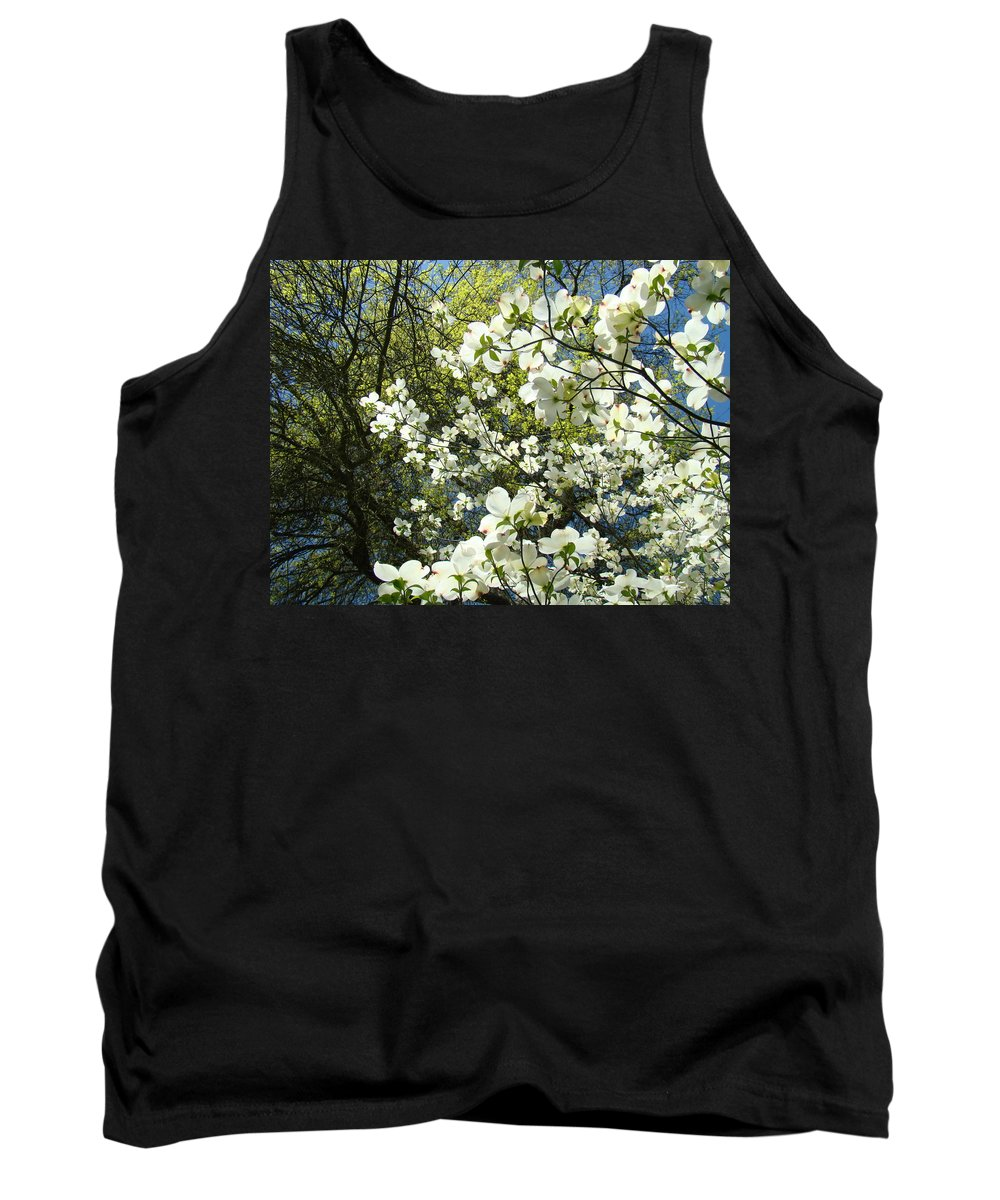 Dogwood Tank Top featuring the photograph Nature Tree Landscape Art Prints White Dogwood Flowers by Baslee Troutman