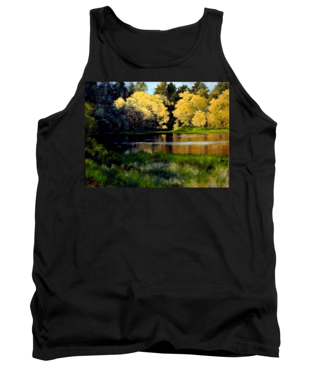 Landscape Tank Top featuring the painting Nature Walk by Jim Gola