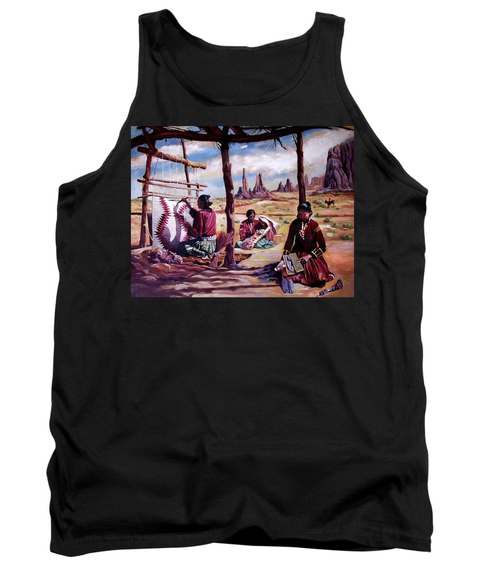 Native American Tank Top featuring the painting Navajo Weavers by Nancy Griswold