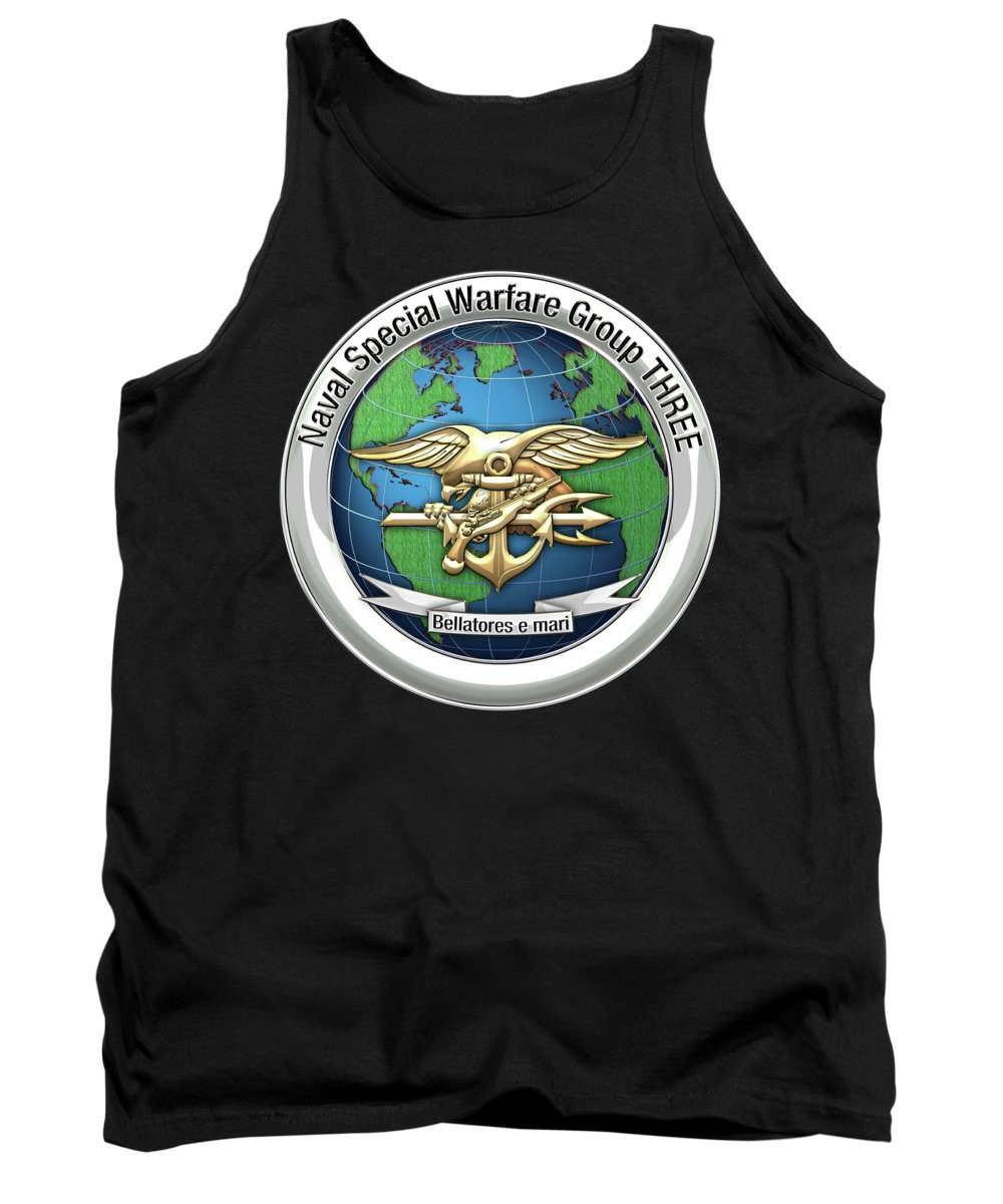 'military Insignia & Heraldry - Nswc' Collection By Serge Averbukh Tank Top featuring the digital art Naval Special Warfare Group Three - Nswg-3 - On Black by Serge Averbukh