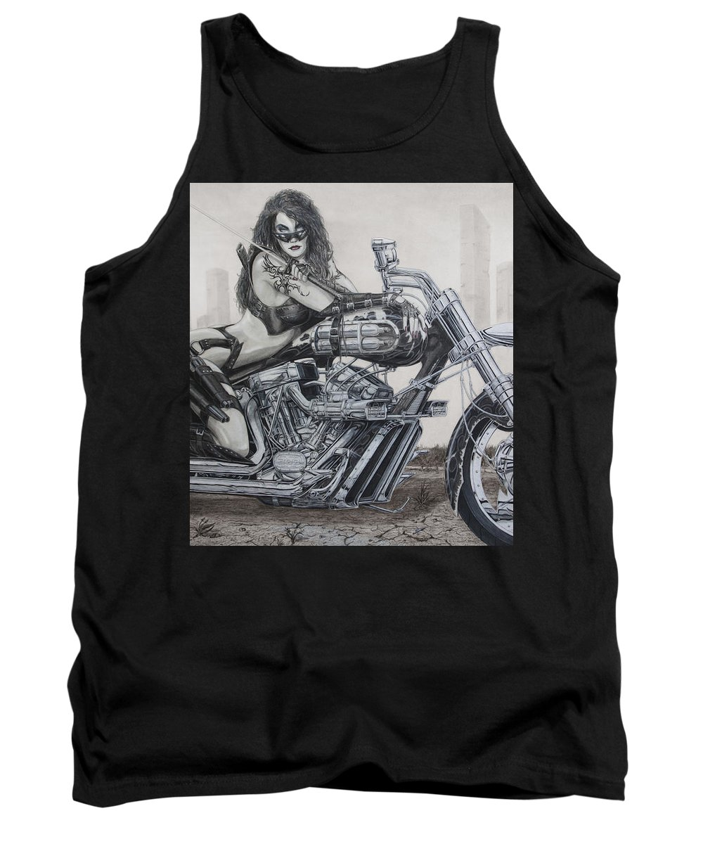 Bike Tank Top featuring the drawing Nemesis by Kristopher VonKaufman
