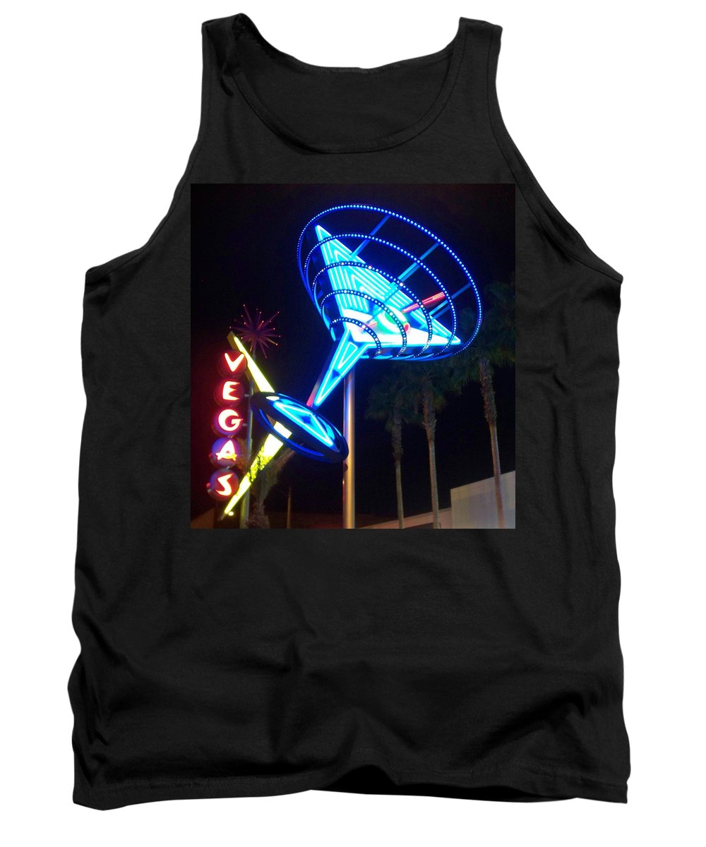 Vegas Tank Top featuring the photograph Neon Signs 1 by Anita Burgermeister