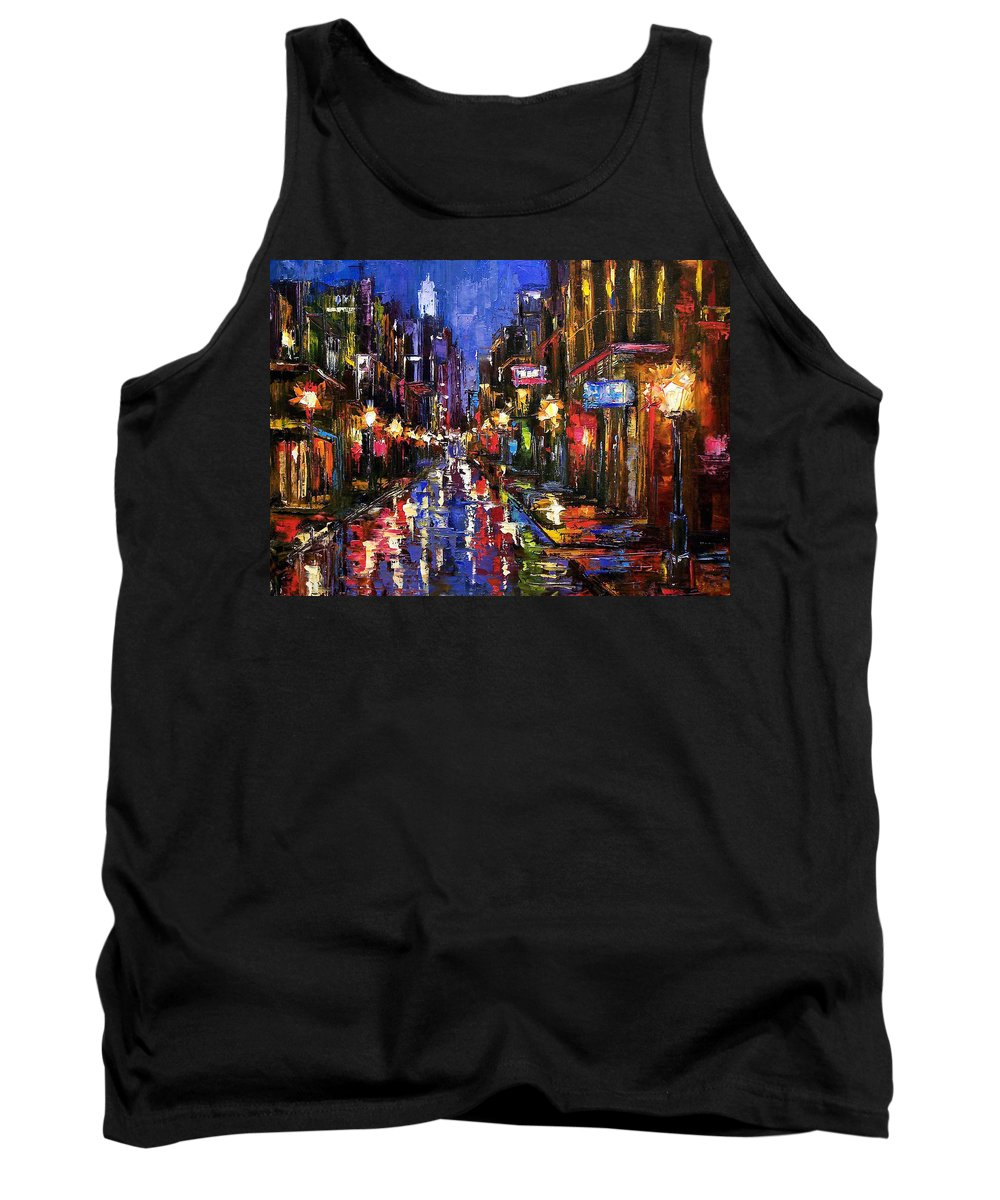 Cityscape Tank Top featuring the painting New Orleans Storm by Debra Hurd