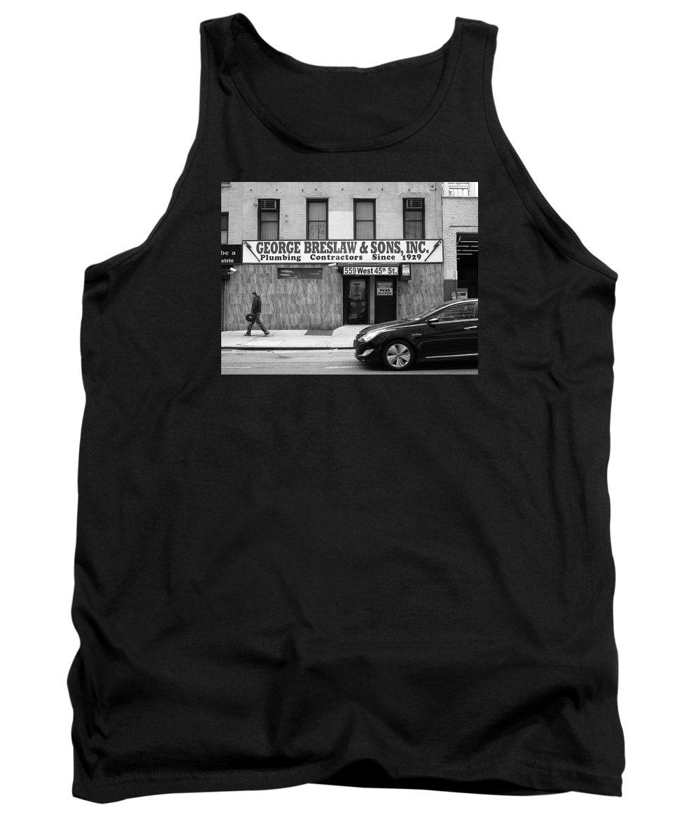 Alley Tank Top featuring the photograph New York City Storefront Bw4 by Frank Romeo
