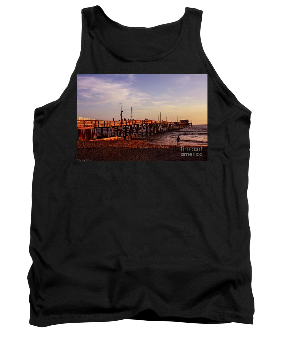 Newport Beach Tank Top featuring the photograph Newport Beach Glow by Tommy Anderson