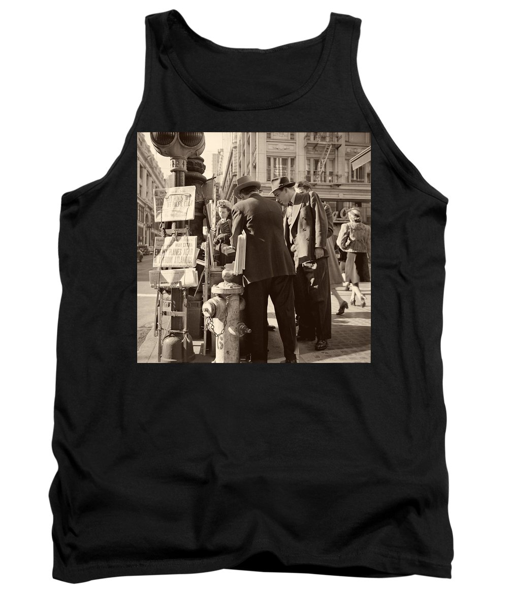 News Tank Top featuring the photograph News Of The Attack On Pearl Harbor - San Francisco 8 Dec 1941 by Mountain Dreams