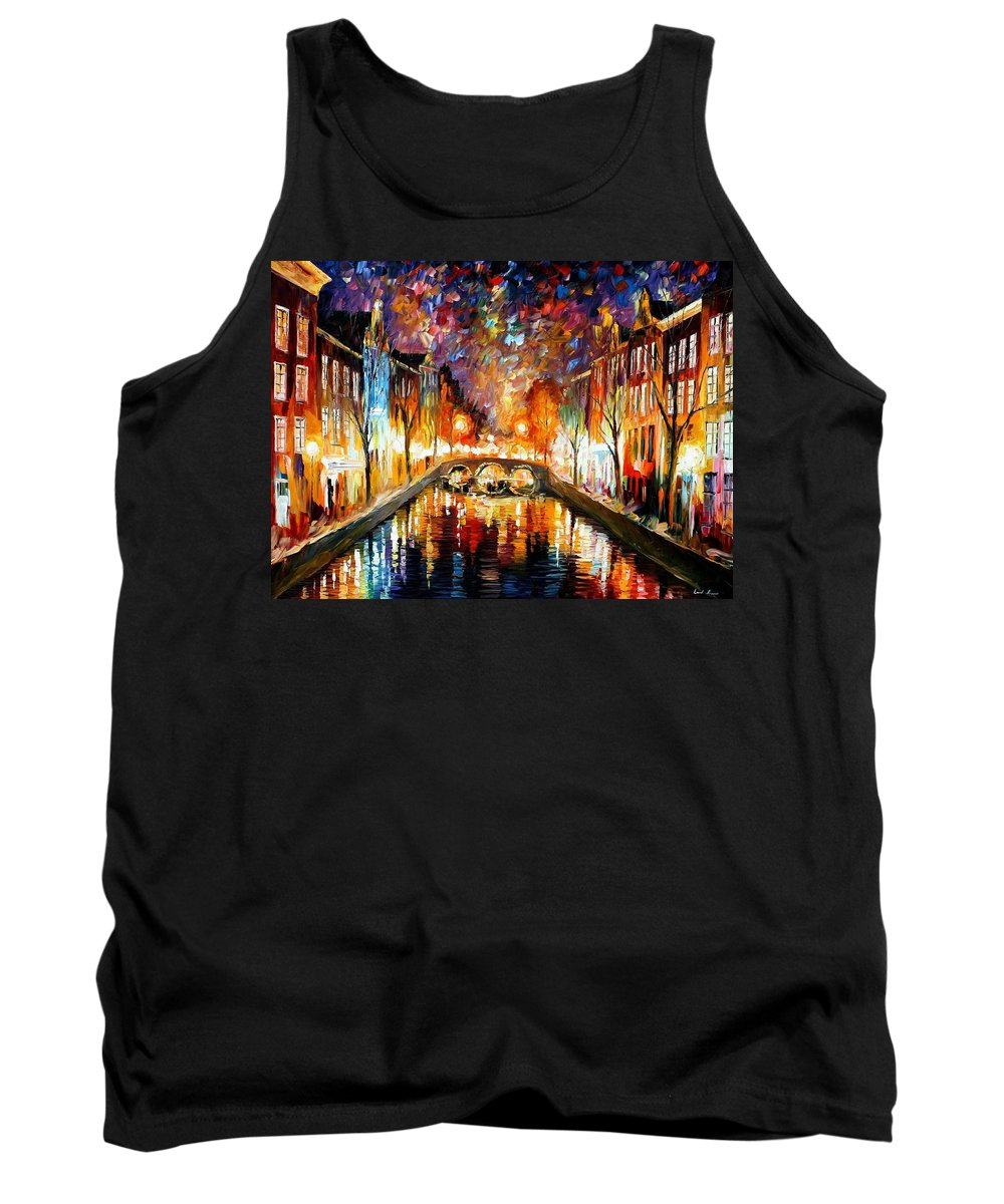 Afremov Tank Top featuring the painting Night Amsterdam by Leonid Afremov