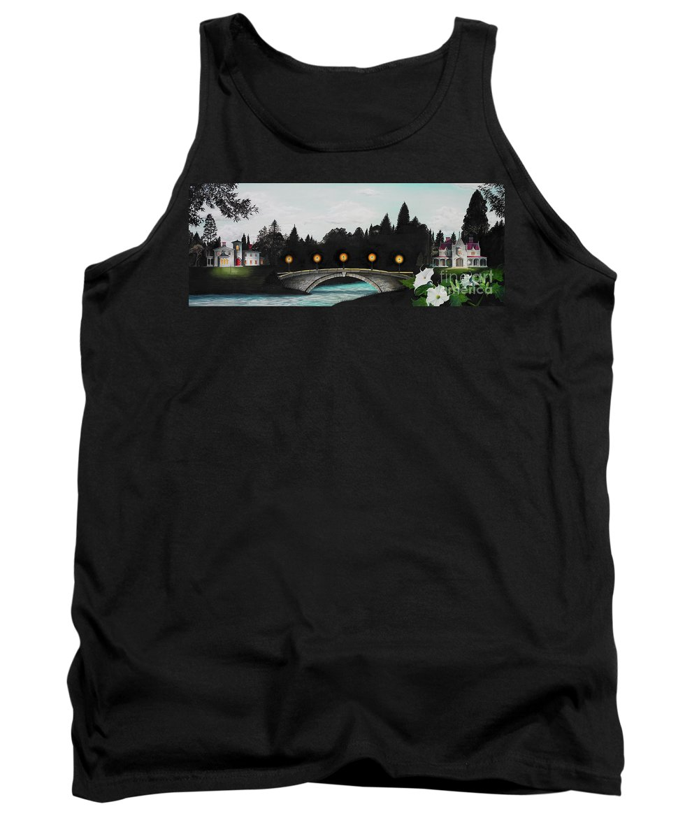 Architecture Tank Top featuring the painting Night Bridge by Melissa A Benson