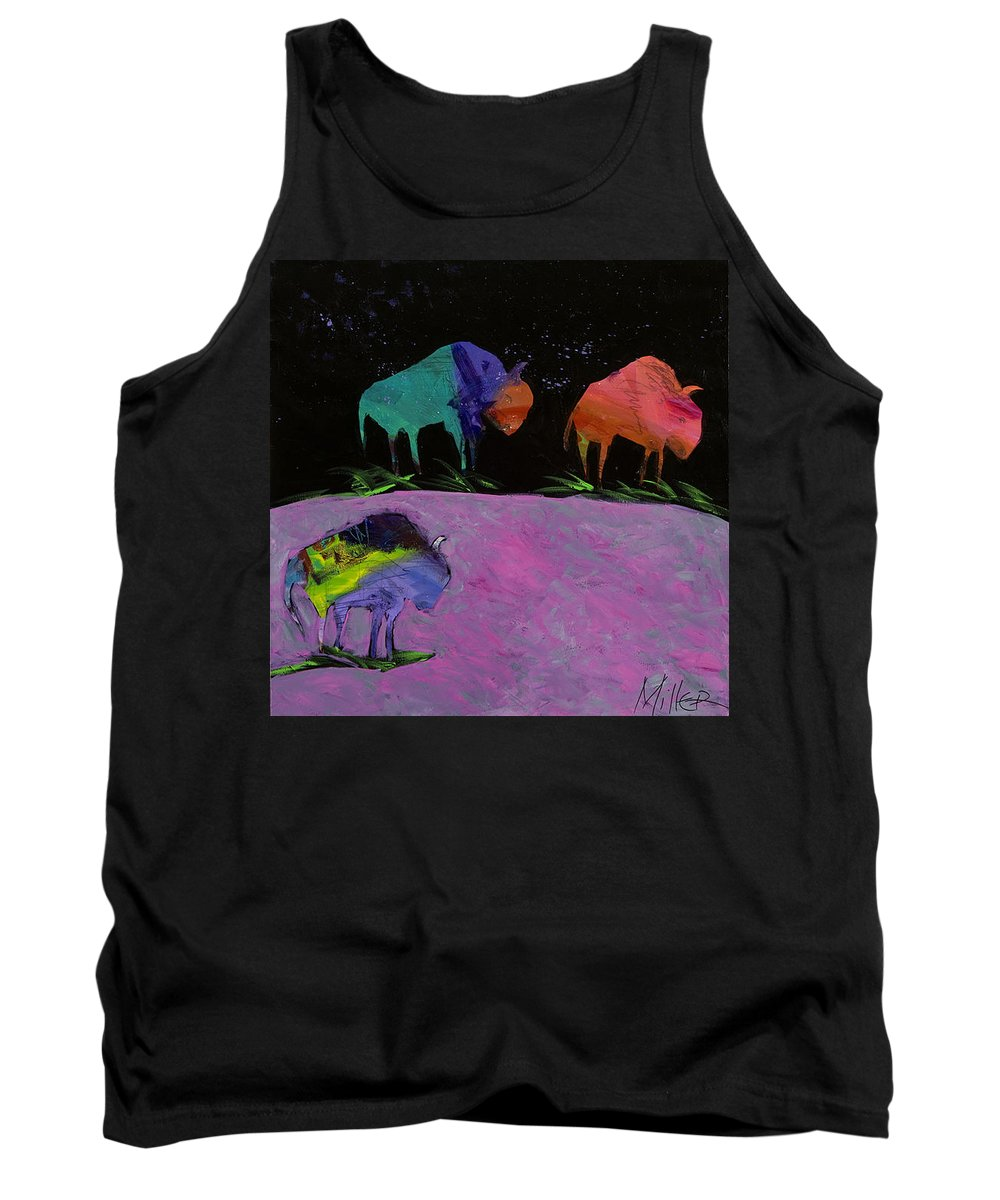 Buffalo Tank Top featuring the painting Night Buffalo by Tracy Miller