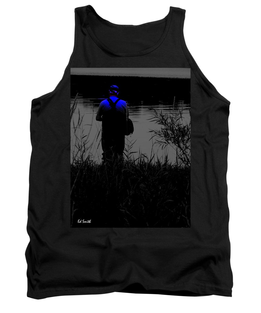 The Night Fisherman Tank Top featuring the photograph Night Fisherman by Ed Smith
