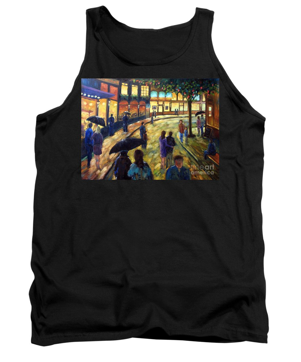 Cityscape Tank Top featuring the painting Night On The Town by Richard T Pranke